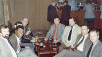 Mini-reunion circa 1980 - Coach House Locking village. From left to right - Keith Davies, Roy Heslop, (Mick Herbert hidden), Baz Hayman, Bill Ranson, Dave Morris, Tony Dennett and Bruce Thorpe.
